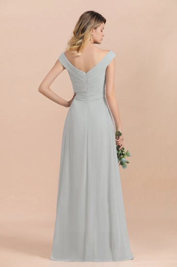 Modest Off-the-Shoulder Mist Chiffon Bridesmaid Dresses with Pleats_3