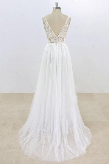 BMbridal Sexy V-neck Sleeveless Straps Wedding Dresses White Tulle Ruffles Lace Bridal Gowns Online_3