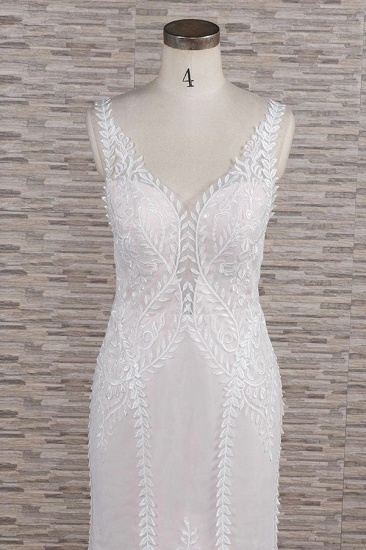 BMbridal Elegant Straps A-line Lace Wedding Dresses White Mermaid V-neck Bridal Gowns On Sale_5