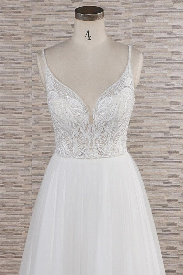 Glamorous V-neck Spaghetti Straps White Wedding Dresses A-line Sleeveless Tulle Lace Bridal Gowns Online_5