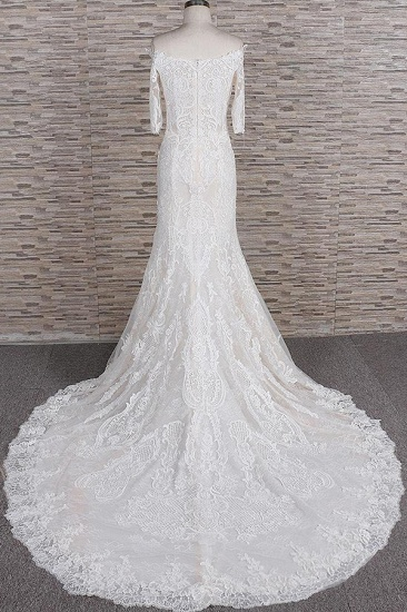 Unique Halfsleeves Lace Mermaid Wedding Dresses Champagne Bateau Bridal Gowns On Sale_3