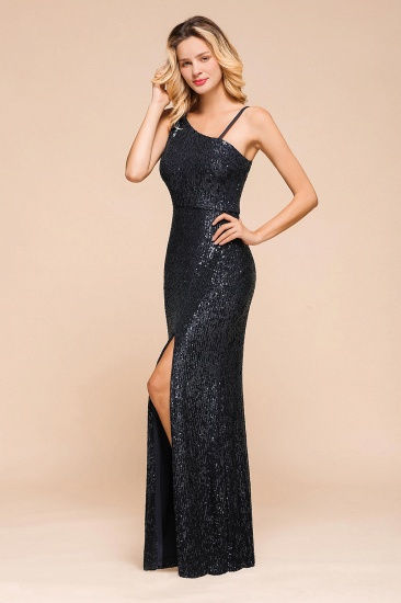 Navy One Shoulder Sequins Prom Dress Long Mermaid Evening Gowns With Split_8
