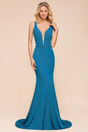 Shinning Blue Mermaid Long Prom Dress V-Neck Sleeveless Long Evening Gowns_5