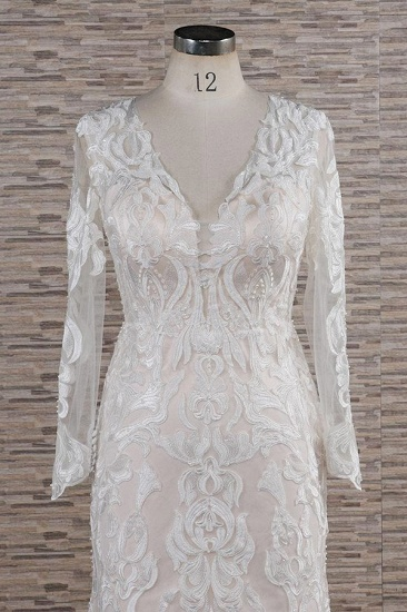 BMbridal Gorgeous Longsleeves V-neck Mermaid Wedding Dresses White Lace Bridal Gowns With Appliques On Sale_4