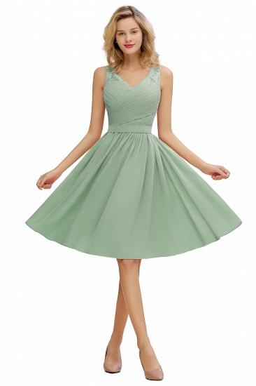 BMbridal A-line Chiffon Ruffle Bridesmaid Dress Sleeveless Lace Homecoming Dress_5