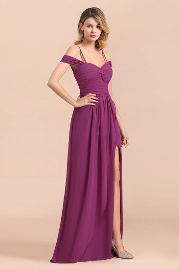 Gorgeous Off-the-Shoulder Ruffle Orchid Bridesmaid Dress Online with Slit_5