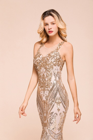 BMbridal Gorgeous Champagne Sequins Mermaid Prom Dress Long Evening Gowns Online_7