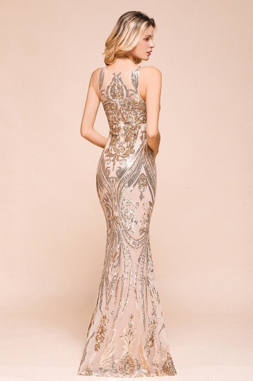 BMbridal Gorgeous Champagne Sequins Mermaid Prom Dress Long Evening Gowns Online_8
