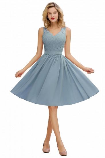 BMbridal A-line Chiffon Ruffle Bridesmaid Dress Sleeveless Lace Homecoming Dress_4