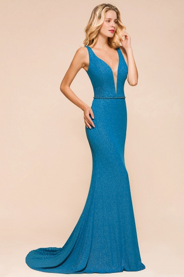 Shinning Blue Mermaid Long Prom Dress V-Neck Sleeveless Long Evening Gowns_4