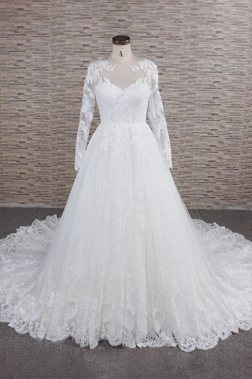 Modest Jewel Longsleeves A-line Wedding Dresses White Tulle Lace Bridal Gowns With Appliques On Sale_1