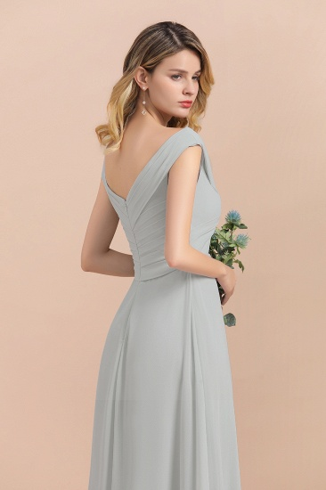 Modest Off-the-Shoulder Mist Chiffon Bridesmaid Dresses with Pleats_8