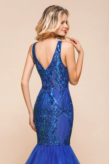 Gorgeous Royal Blue Mermaid Prom Dress Long Sequins Evening Party Gowns Online_9