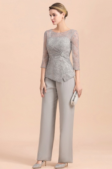 Elegant 3/4 Sleeves Lace Chiffon Affordable Mother of Bride Jumpsuit Online_6