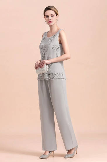 BMbridal Elegant Sleeveless Appliques Silver Chiffon Mother of Bride Jumpsuit with Wrap_8