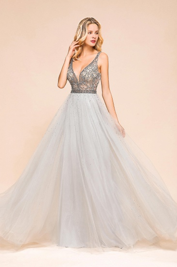 Charming V-Neck Tulle Long Prom Dress With Crystals On Sale_9