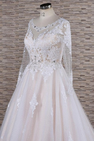 BMbridal Elegant Longsleeves Jewel Lace Wedding Dresses Jewel Tulle Champagne Bridal Gowns On Sale_6