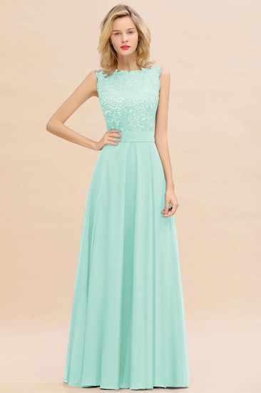 Exquisite Scoop Chiffon Lace Bridesmaid Dresses with V-Back_36