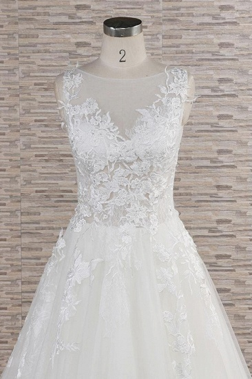 Gorgeous Sleeveless Jewel Tulle Wedding Dresses A-line Ruufles Lace Bridal Gowns With Appliques_5