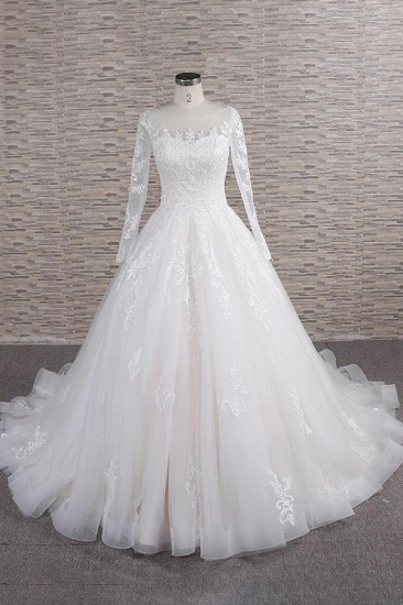 BMbridal Chic Longsleeves Jewel Tulle Wedding Dresses A-line Bridal Gowns With Appliques Online_1