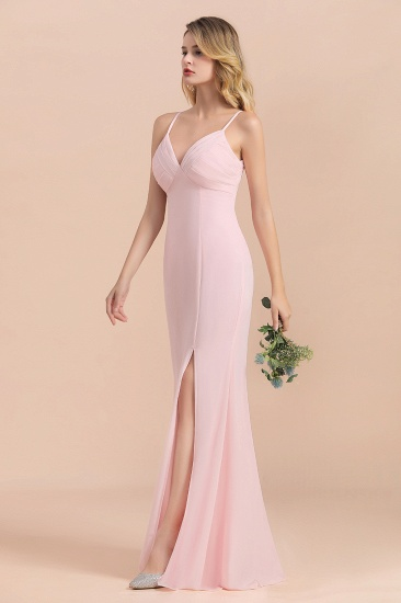 Affordable Sheath V-Neck Blushing Pink Chiffon Bridesmaid Dress with Spaghetii Straps_7
