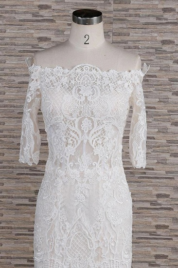 Unique Halfsleeves Lace Mermaid Wedding Dresses Champagne Bateau Bridal Gowns On Sale_5