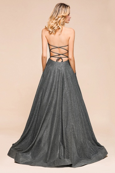 BMbridal Shinning Strapless Long Prom Dress Lace-up Evening Gowns With Split_3