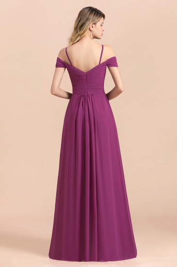 Gorgeous Off-the-Shoulder Ruffle Orchid Bridesmaid Dress Online with Slit_3