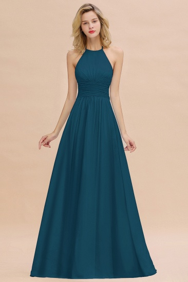 Glamorous Halter Backless Long Affordable Bridesmaid Dresses with Ruffle_27
