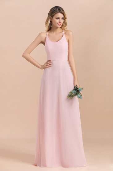 Chic Spaghetti Straps Chiffon Pink Bridesmaid Dresses with Crisscross Back_9