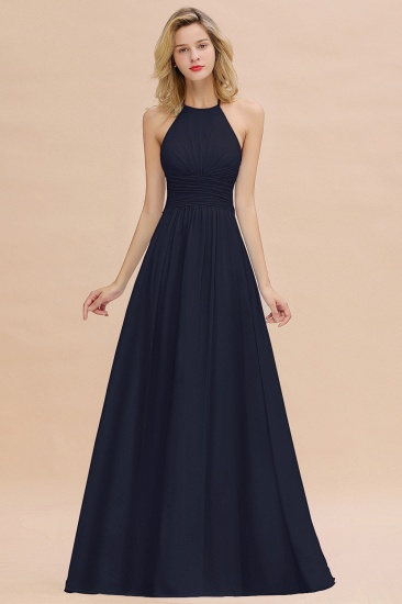 Glamorous Halter Backless Long Affordable Bridesmaid Dresses with Ruffle_28