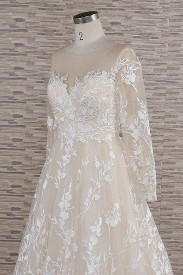 BMbridal Glamorous Jewel Longsleeves Champagne Wedding Dresses A-line Lace Bridal Gowns With Appliques On Sale_6