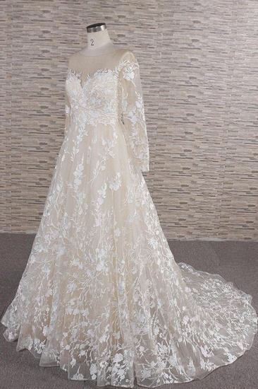 BMbridal Glamorous Jewel Longsleeves Champagne Wedding Dresses A-line Lace Bridal Gowns With Appliques On Sale_4