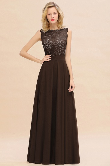 Exquisite Scoop Chiffon Lace Bridesmaid Dresses with V-Back_11