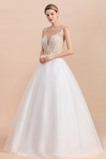 Gorgeous Tulle Lace V-Neck Sleeveless Wedding Dress Online_4
