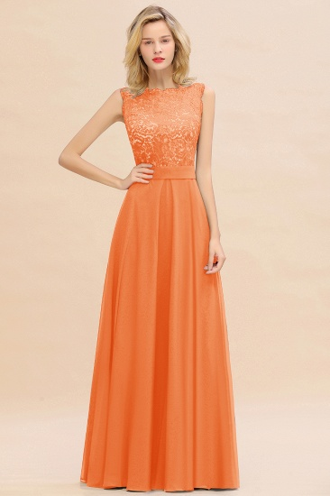 Exquisite Scoop Chiffon Lace Bridesmaid Dresses with V-Back_15