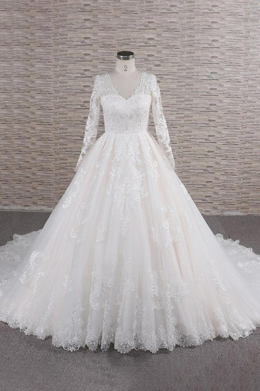 Elegant V-neck Longsleeves Lace Wedding Dresses A-line Tulle Bridal Gowns With Appliques Online_1