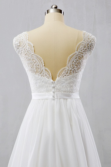 BMbridal Elegant Straps Sleeveless Chiffon Wedding Dresses White A-line Bridal Gowns Online_5