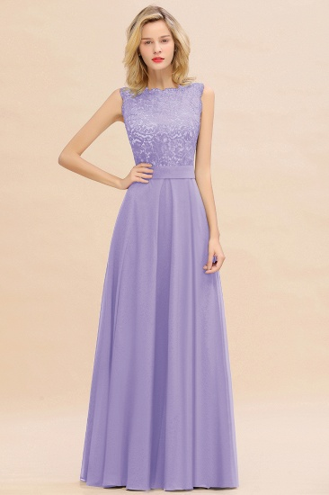 Exquisite Scoop Chiffon Lace Bridesmaid Dresses with V-Back_21