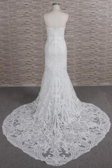 Chic Sweetheart Mermaid Lace Wedding Dresses White Sleeveless Bridal Gowns With Appliques On Sale_3