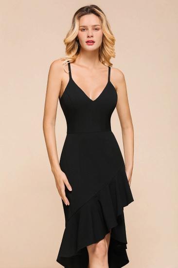 Sexy Black Spaghetti-Strap Short Prom Dress Mermaid Ruffles Homecoming Dress_8