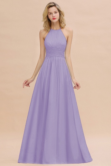Glamorous Halter Backless Long Affordable Bridesmaid Dresses with Ruffle_21