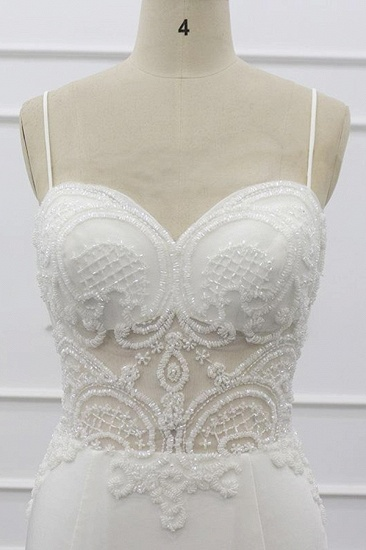BMbridal Sexy Spaghetti Straps White Mermaid Wedding Dresses Tulle Sleeveless Bridal Gowns With Appliques On Sale_6