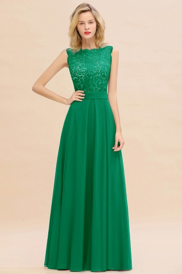 Exquisite Scoop Chiffon Lace Bridesmaid Dresses with V-Back_49