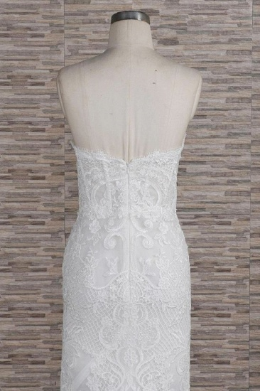 Chic Sweetheart Mermaid Lace Wedding Dresses White Sleeveless Bridal Gowns With Appliques On Sale_7