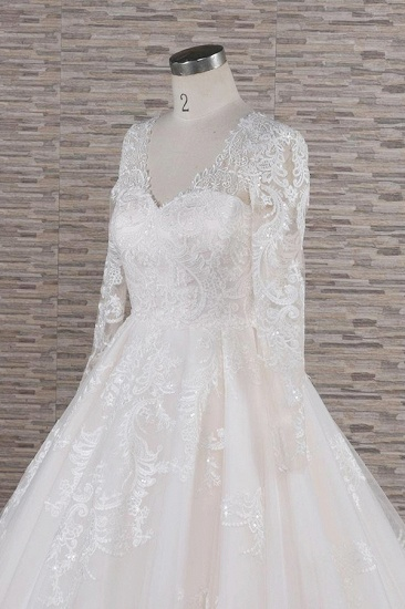 Elegant V-neck Longsleeves Lace Wedding Dresses A-line Tulle Bridal Gowns With Appliques Online_6