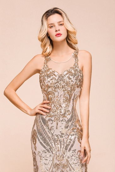 BMbridal Gorgeous Champagne Sequins Mermaid Prom Dress Long Evening Gowns Online_9