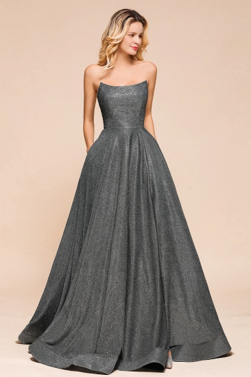 BMbridal Shinning Strapless Long Prom Dress Lace-up Evening Gowns With Split_5