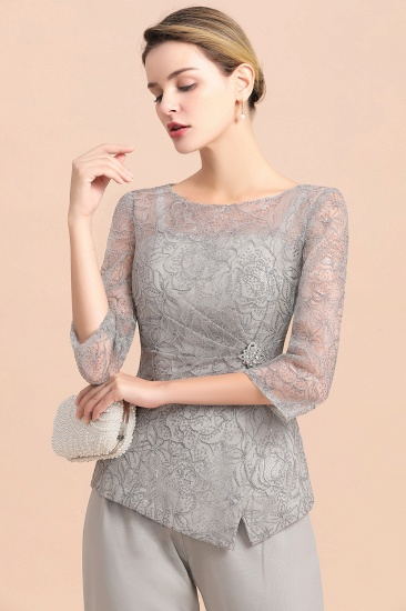 Elegant 3/4 Sleeves Lace Chiffon Affordable Mother of Bride Jumpsuit Online_8