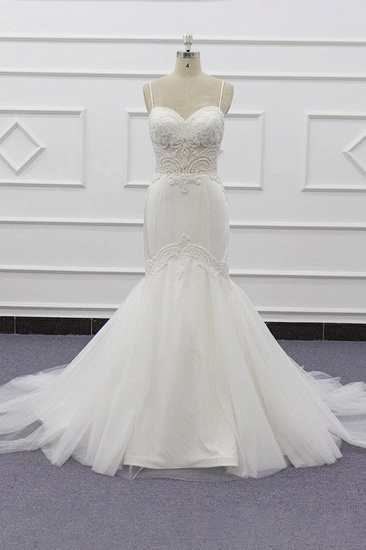 BMbridal Sexy Spaghetti Straps White Mermaid Wedding Dresses Tulle Sleeveless Bridal Gowns With Appliques On Sale_1